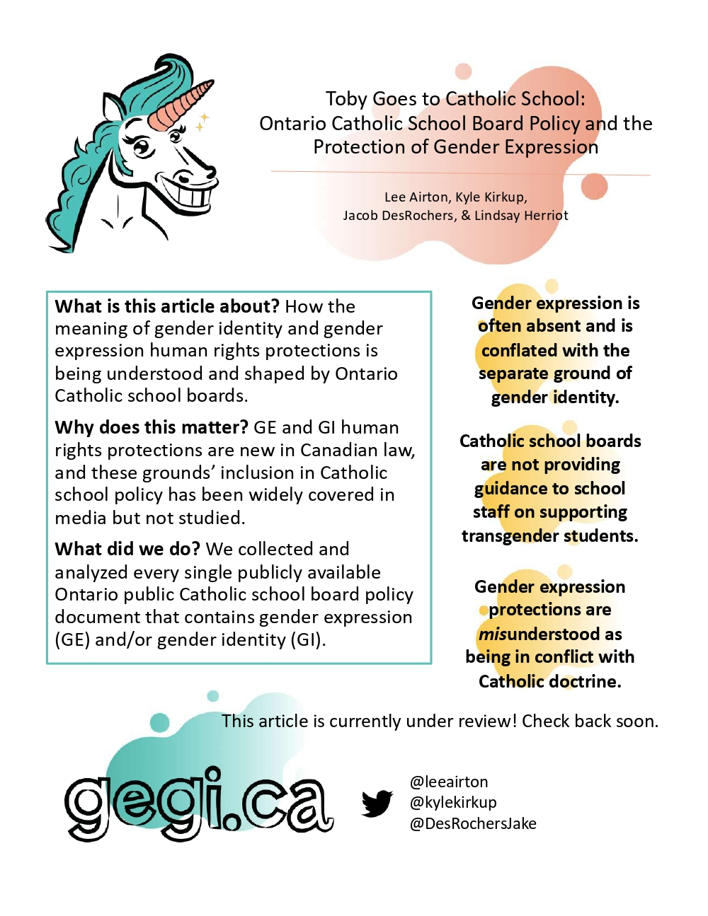 Gegi.ca One-Pager - Toby goes to Catholic school