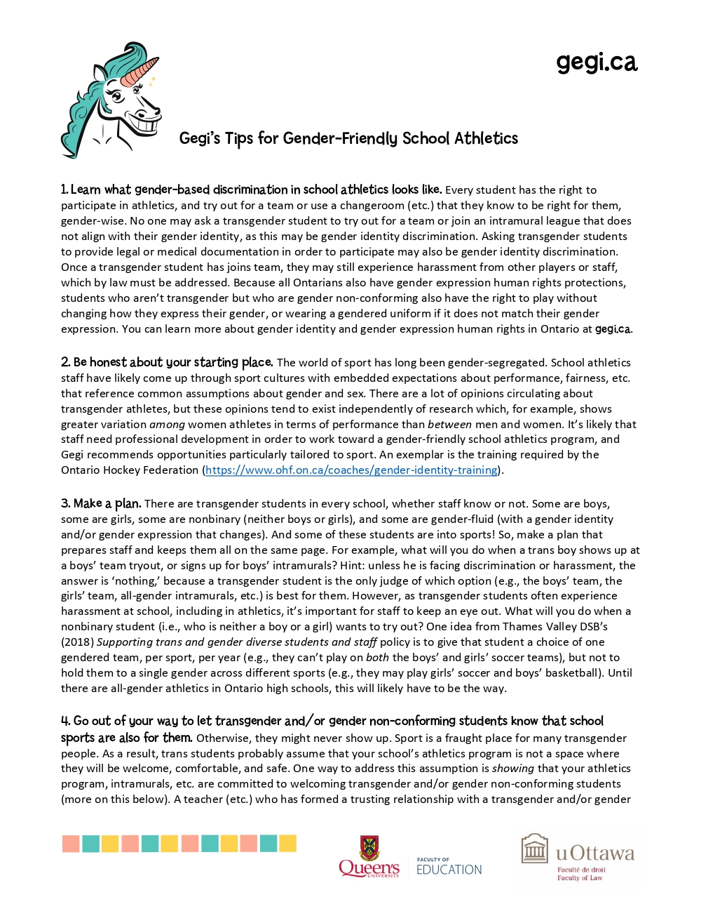 Gegi's Gender-Friendly Athletics Tips