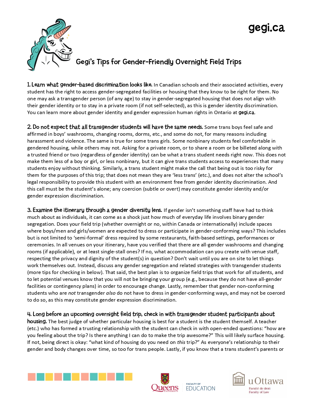 Gegi's Gender-Friendly Overnight Field Trips Tips