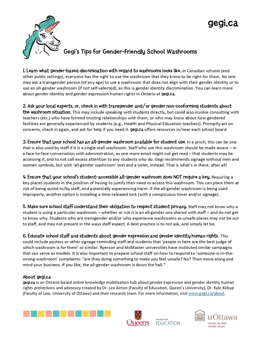 Gegi's Gender-Friendly School Washroom Tips