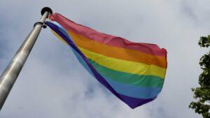 Pride flag flying on a flag pole.